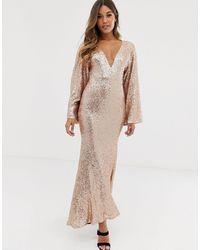 Club L London Club L Sequin Plunge Kimono Sleeve Fishtail Maxi Dress - Metallic