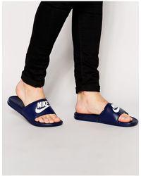 Nike Benassi JDI - Mules - marine 343880-403 - Bleu
