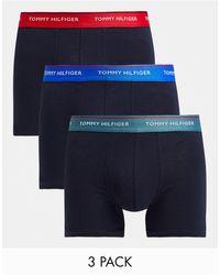 Tommy Hilfiger Набор Из 3 Боксеров-брифов С Контрастным Поясом Разных Цветов -черный Цвет