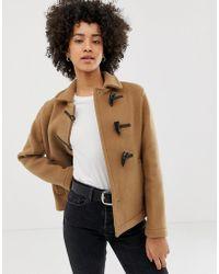 Gloverall Farlie Short Duffle Coat In Wool Blend - Brown