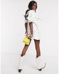 ASOS - – Bedrucktes Mini-Jeanskleid - Lyst