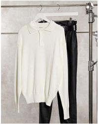 Glamorous Oversized Polo Style Jumper With Button Collar - White