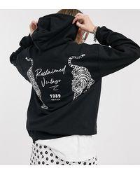 Reclaimed (vintage) Inspired - Hoodie Met Logo En Tijgerprint - Zwart
