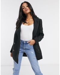 Missguided Longline Coat With Faux Tortoise Shell Buttons - Black