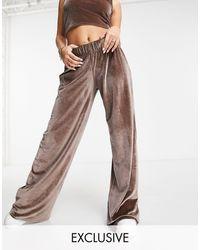Fashionkilla Exclusive Velour Wide Leg Pant Co-ord - Brown