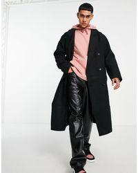 ASOS Черное Длинное Пальто В Стиле Oversized Из Материала С Добавлением Шерсти - Черный