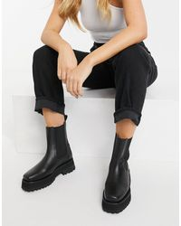 & Other Stories Leather Chunky Square Toe Boots - Black