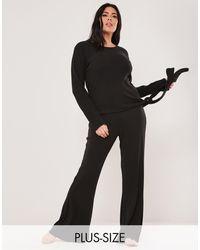 Missguided - Комплект Одежды Для Дома Из Футболки И Расклешенных Брюк Черного Цвета -черный Цвет - Lyst