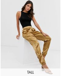 Missguided Satin Cuffed Trousers - Green