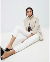 ASOS - Florence Authentic Straight Leg Jeans In White With Contrast Stitch - Lyst