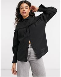 Object Shirt With Ruffle Detail - Black