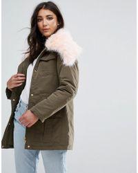 Missguided Khaki Fur Collar Parka Coat - Green