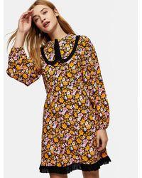 TOPSHOP - Oversized Collar Mini Dress - Lyst