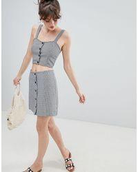 Monki Check Skirt Co-ord - Gray