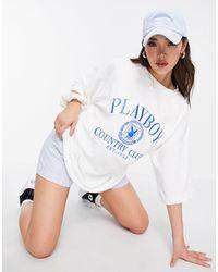 Missguided Playboy sports - robe t-shirt en tissu éponge - Blanc