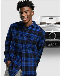 ASOS - Рубашка Навыпуск Из Ткани С Добавлением Шерсти В Сине-черную Клетку Тартан - Lyst