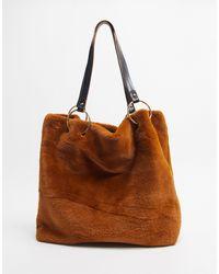 Oasis Faux Fur Shoulder Bag - Brown