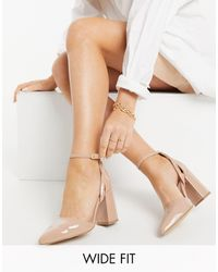 London Rebel Wide Fit Ankle Strap Pointed Block Heel Shoes-neutral - Natural