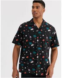 Jack & Jones Originals – Weihnachtlich bedrucktes Hemd mit kurzen Ärmeln und Reverskragen - Mehrfarbig