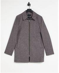 ASOS Светло-бежевое Пальто В Клетку С Добавлением Шерсти - Серый
