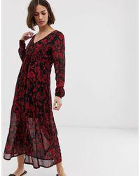 Ichi Платье Миди С Цветочным Принтом -мульти - Красный