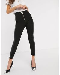 River Island Ribbed leggings With Faux Leather Side Panel - Black