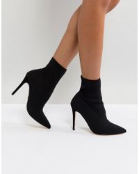 Lipsy Stretch Knitted Sock Ankle Boot - Black