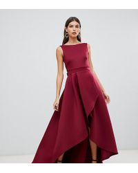 True Violet Exclusive High Low Scuba Maxi Dress With Open Back Bow Detail In Red