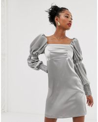 Reclaimed (vintage) - Inspired Mini Dress With Puff And Ruched Sleeve Detail - Lyst