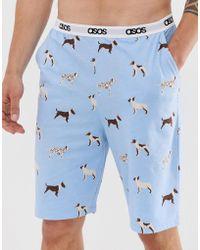 ASOS Lounge-pyjamashort Met Hondenprint - Wit