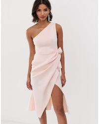 ASOS - Midi-jurk Met Een Blote Schouder - Lyst