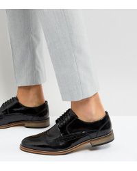 ASOS - Wide Fit Brogue Shoes In Black Polish Leather - Lyst