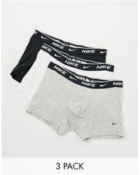 Nike Набор Из 3 Хлопковых Эластичных Боксеров-брифов Черного/серого/белого Цветов -многоцветный - Черный