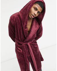ASOS Fleece Lounge-badjas - Rood