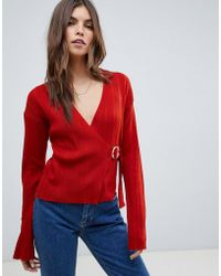 ASOS - Wrap Jumper In Rib With Buckle Detail - Lyst