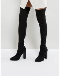 Public Desire - Nebraska Black Block Heel Over The Knee Boots - Lyst