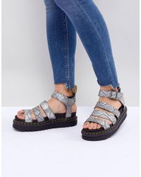 Dr. Martens - Blaire Vegan Strappy Flat Sandals In Silver - Lyst