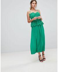 Liquorish Pleated Midi Slip Dress With Lace Detail - Green