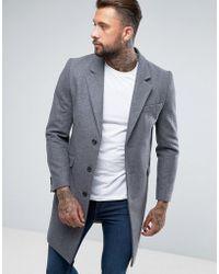 ASOS - Wool Mix Overcoat In Light Grey Marl - Lyst