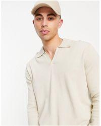 ASOS Knitted Cotton Notch Neck Polo - Multicolour