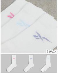 Reebok Набор Из 3 Пар Белых Носков С Логотипом Пастельных Оттенков -розовый Цвет