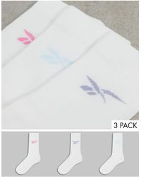 Reebok Pack de 3 pares de calcetines deportivos blancos con logos pastel de - Rosa