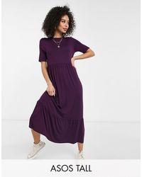 ASOS - Темно-фиолетовое Ярусное Свободное Платье-футболка - Lyst