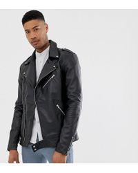 ASOS Tall Leather Biker Jacket In Black