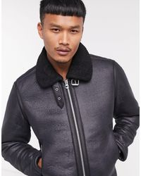 Jack & Jones Originals - Blouson aviateur en peau - Noir