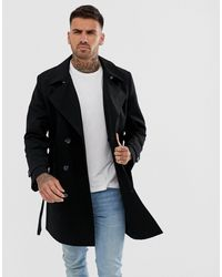 ASOS Shower Resistant Double Breasted Trench - Black