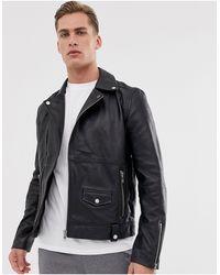 Barneys Originals – Bikerjacke aus echtem Leder mit Reißverschluss - Schwarz