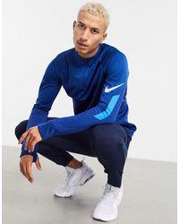 Nike Синий Топ С Молнией До Груди Football Therma Shield-серебряный - Металлик