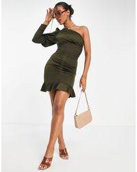 AX Paris - Оливковое Платье Мини На Одно Плечо -зеленый Цвет - Lyst