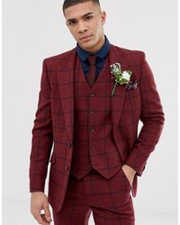 ASOS Wedding Skinny Suit Jacket - Red